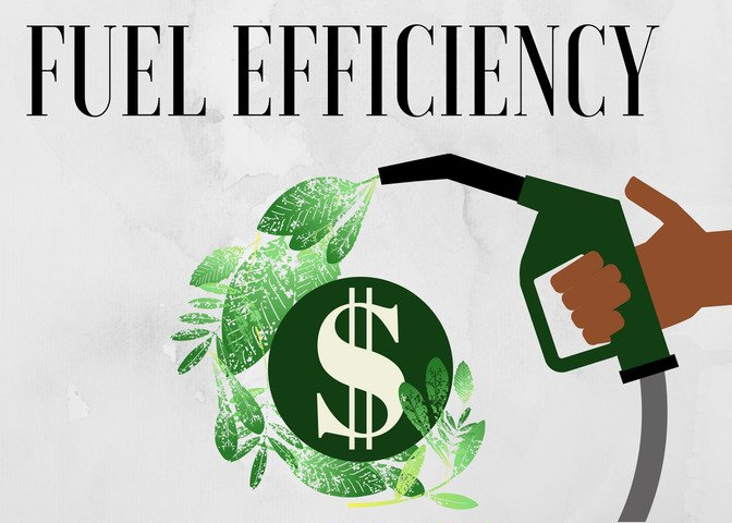 """Fuel Mileage Image: Says """"Fuel efficiency"""" in dark lettering at top, light grey watercolor background, hand holding gas pump /fuel nozzle which is discharging leaves. In turn, the leaves cradle a dollar sign."""