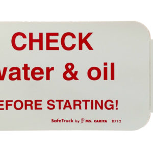 CHECK water & oil BEFORE STARTING!