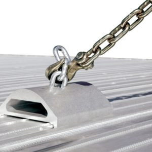 The FOntaine Revolution Chain Tie Down Chock does Not Include chain or flooring.