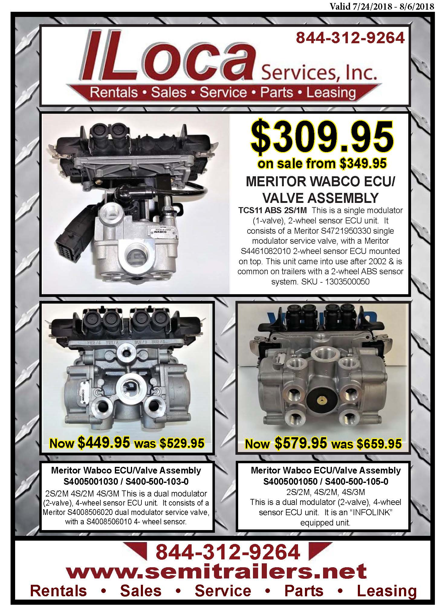 Meritor WABCO ECU/Valves Parts Flyer through August 6
