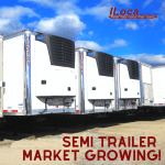 Image: Row of refrigerated trailers under blue sky. Red text says: Semi Trailer Market Growing!